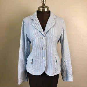 Talbots Cotton Seersucker Blue Pinstripe Blazer 10